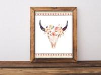 dorm wall art Cow skull floral skull bull head