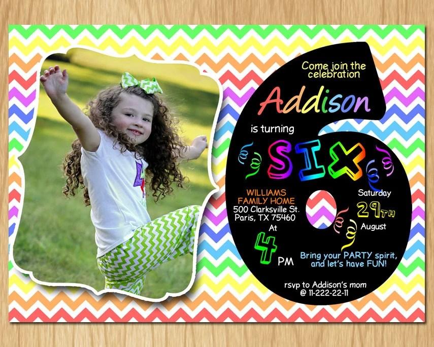 6th Birthday Invitation Rainbow Chevron Pastel Sixth Birthday Party