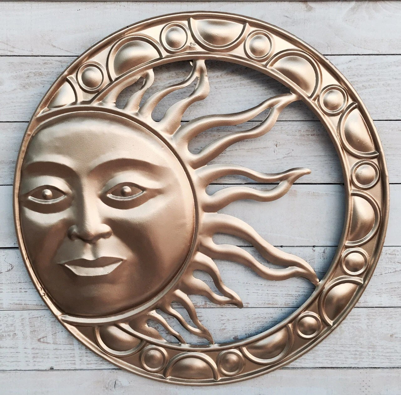Rustic Outdoor Metal Wall Art Sun Garden Rustic Metal Wall Decor Wall Hanging Gold By