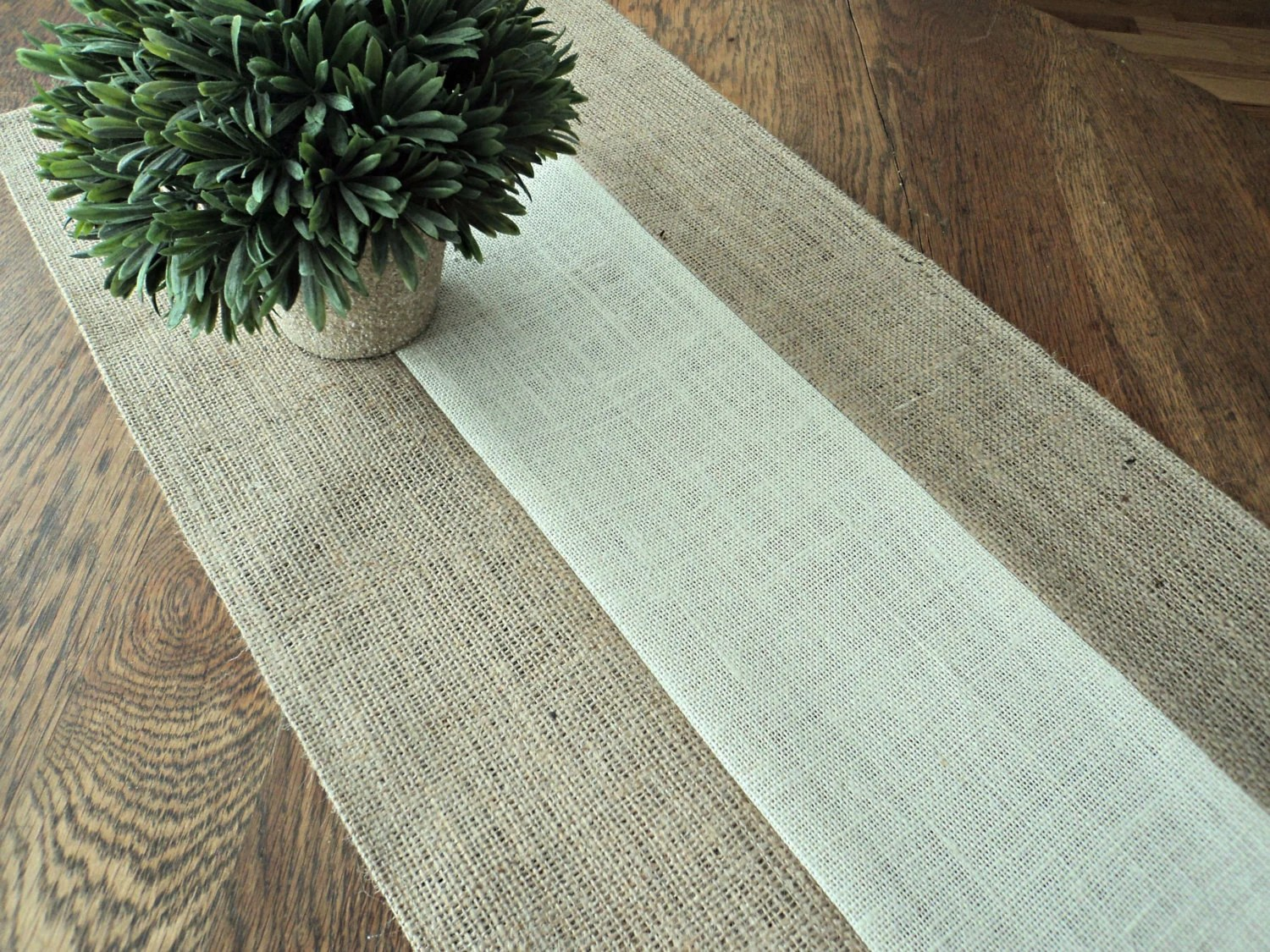 Farmhouse Style Table Runners Natural And Ivory Burlap Table Runner Holiday Table Runner