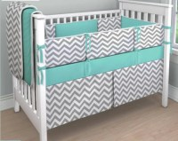 Gray Chevron and Teal crib bedding set by ConvertibleCoveralls