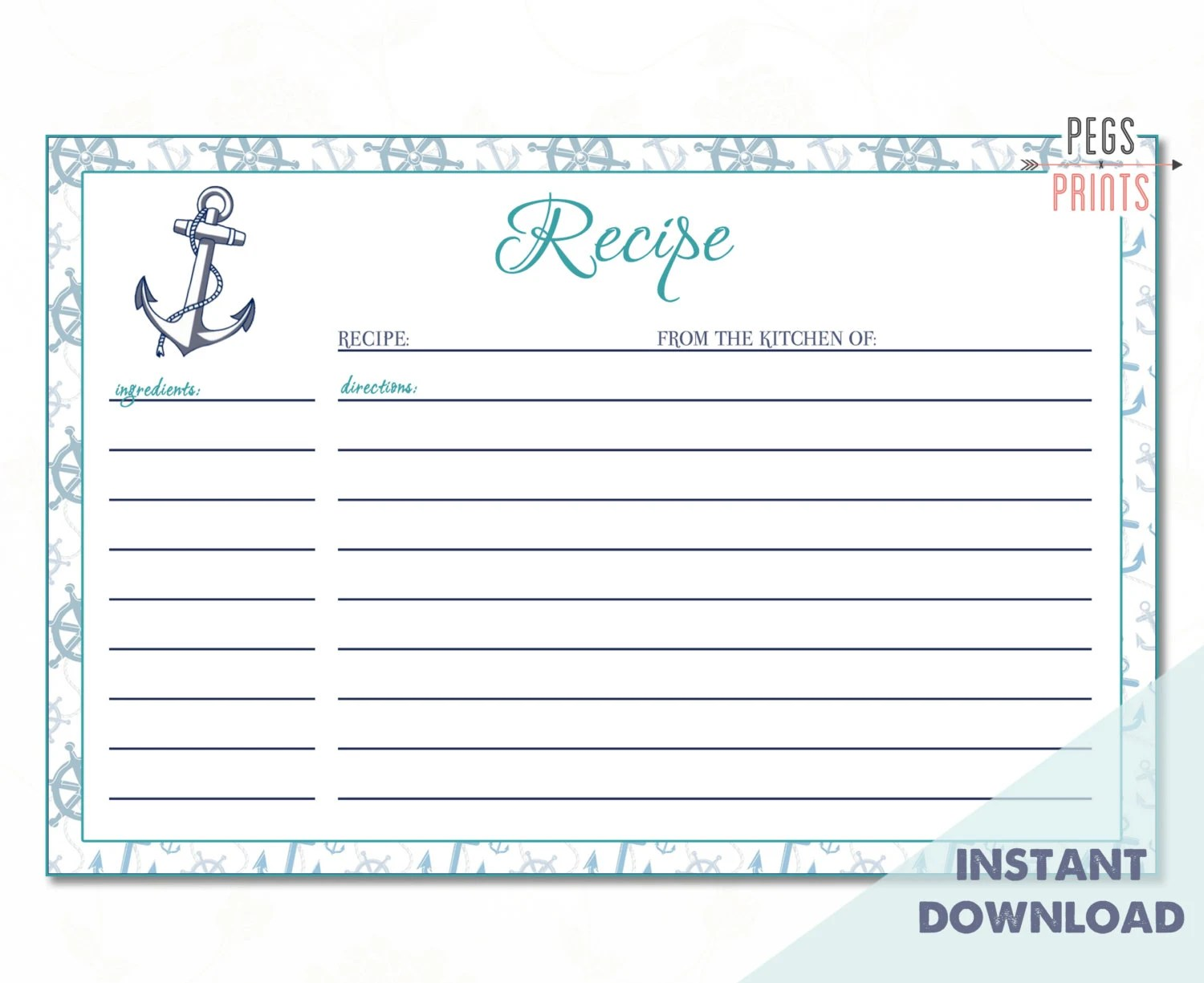 Nautical Recipe Card Printable   Instant Download Bridal Shower
