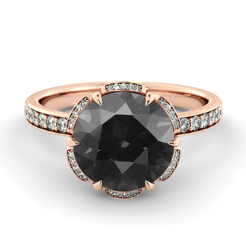 black diamond engagement ring flower black wedding ring zoom