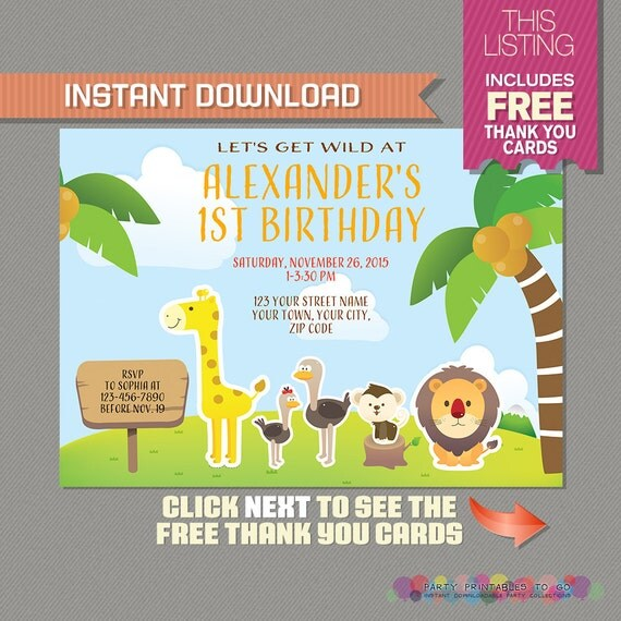 Safari Invitation with FREE Thank you Card! - Jungle Birthday - free thank you cards