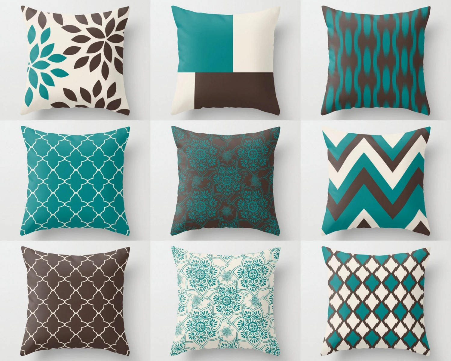 Cojines Chocolate Teal Brown Pillows Pillow Covers Teal Chocolate By