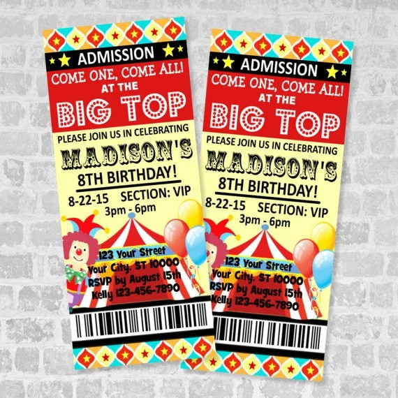 Circus Ticket Invitations, Circus Carnival Birthday Party Ticket