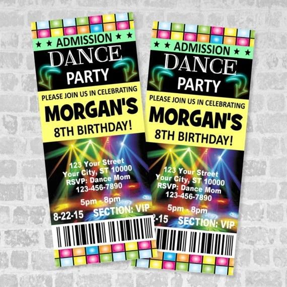 Printed Ticket Dance Party Invitation Custom Boy or Girl - ticket invitation
