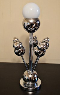 Mid Century Chrome Orb Ball Table Lamp by DirtyGirlsAntiques