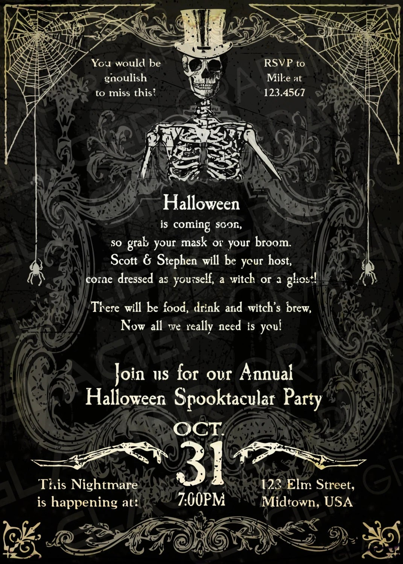 Spooky Halloween Skeleton Invitation Template Spooky - halloween invitation template
