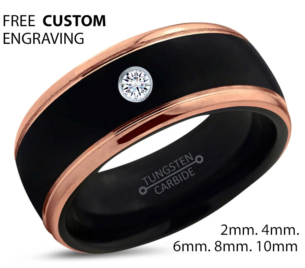 black tungsten ring 18k rose gold black gold tungsten wedding bands Black Tungsten Ring 18k Rose Gold Black Band Black Wedding Bands White Diamond Mens Wedding Band Men Wedding Band Polished Carbide
