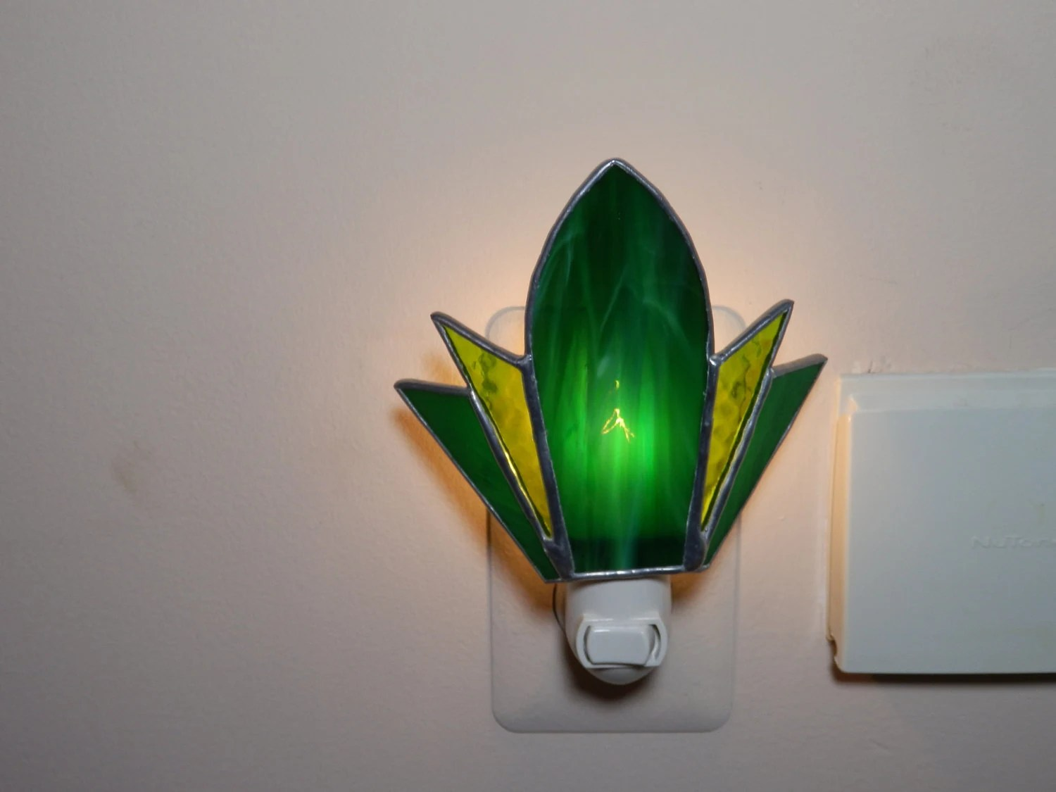 Glass Night Lights Stained Glass Night Light Green