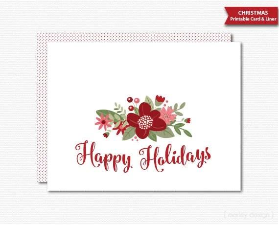 Printable Christmas Card Holiday Greeting Card Happy Holidays Floral - christmas card printable