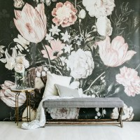 Blossoms Large Wall Mural Large Flowers Mural Dark