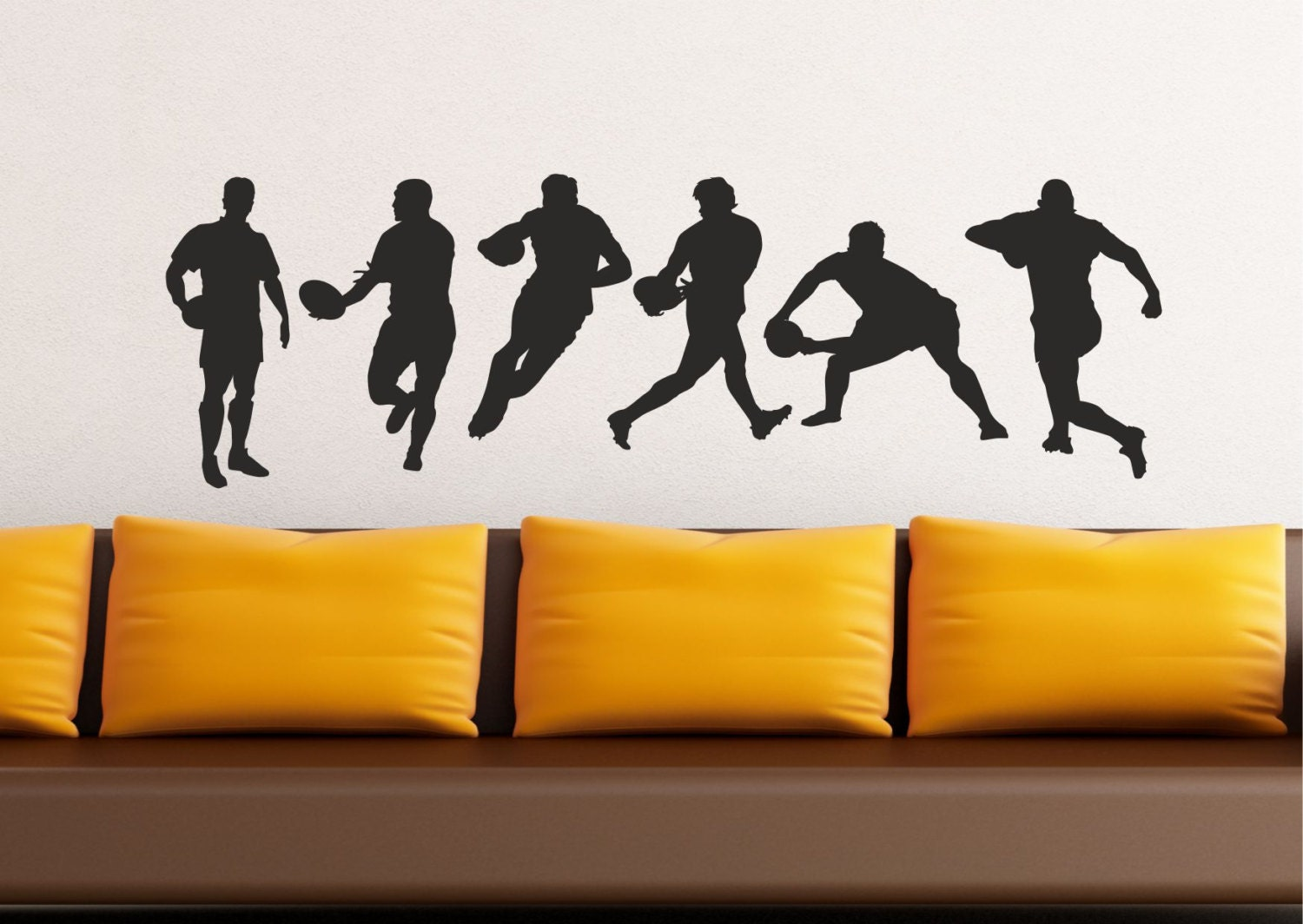 Muurstickers Action Rugby Action Silhouette Set Wall Stickers