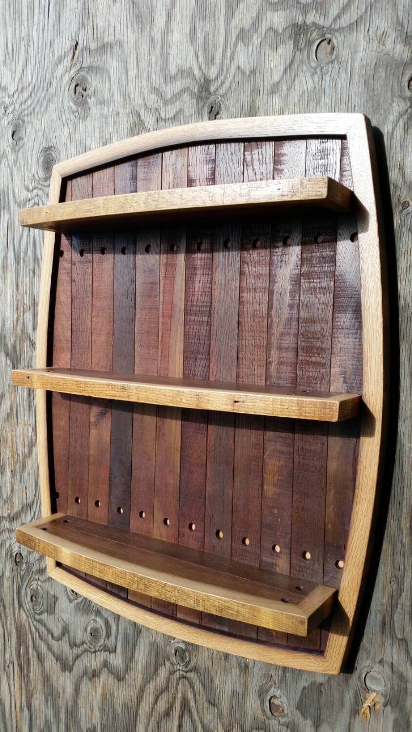 Wine Barrel Stave Shelf By Oldpathwoodcraft On Etsy