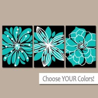 Turquoise Black Wall Art CANVAS or Prints Bedroom Decor