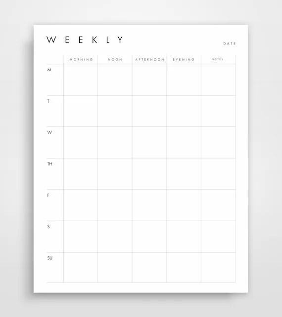 Weekly Agenda Week Schedule Printable Planner Weekly - weekly agenda