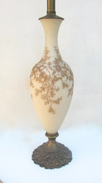 Antique Satin Glass Lamp Soft Pink Lamp Gold Flowered
