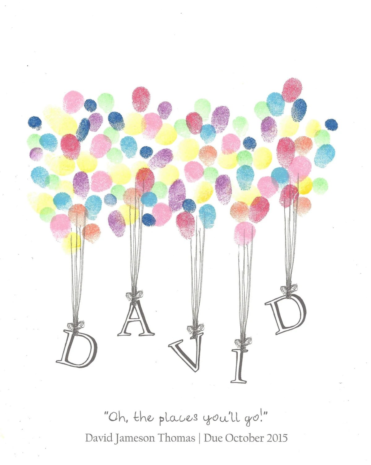 Name Being Lifted By Balloons Fingerprint Guest Book Shower   Postal Order  Form