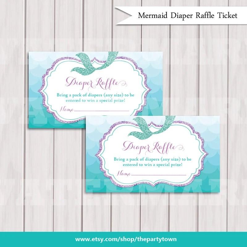 Mermaid Diaper Raffle Ticket Cards, Baby shower Purple Glitter Bring