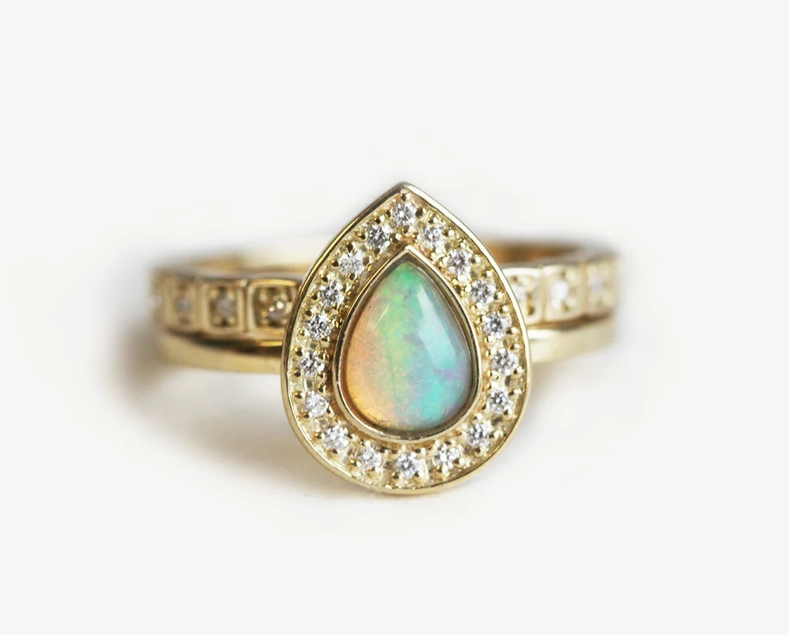 opal eternity ring opal wedding ring sets Opal Wedding Ring Set Halo Opal Ring Halo Diamond Set Unique Wedding Ring Set Pear Opal Engagement Ring with Diamond Eternity Band