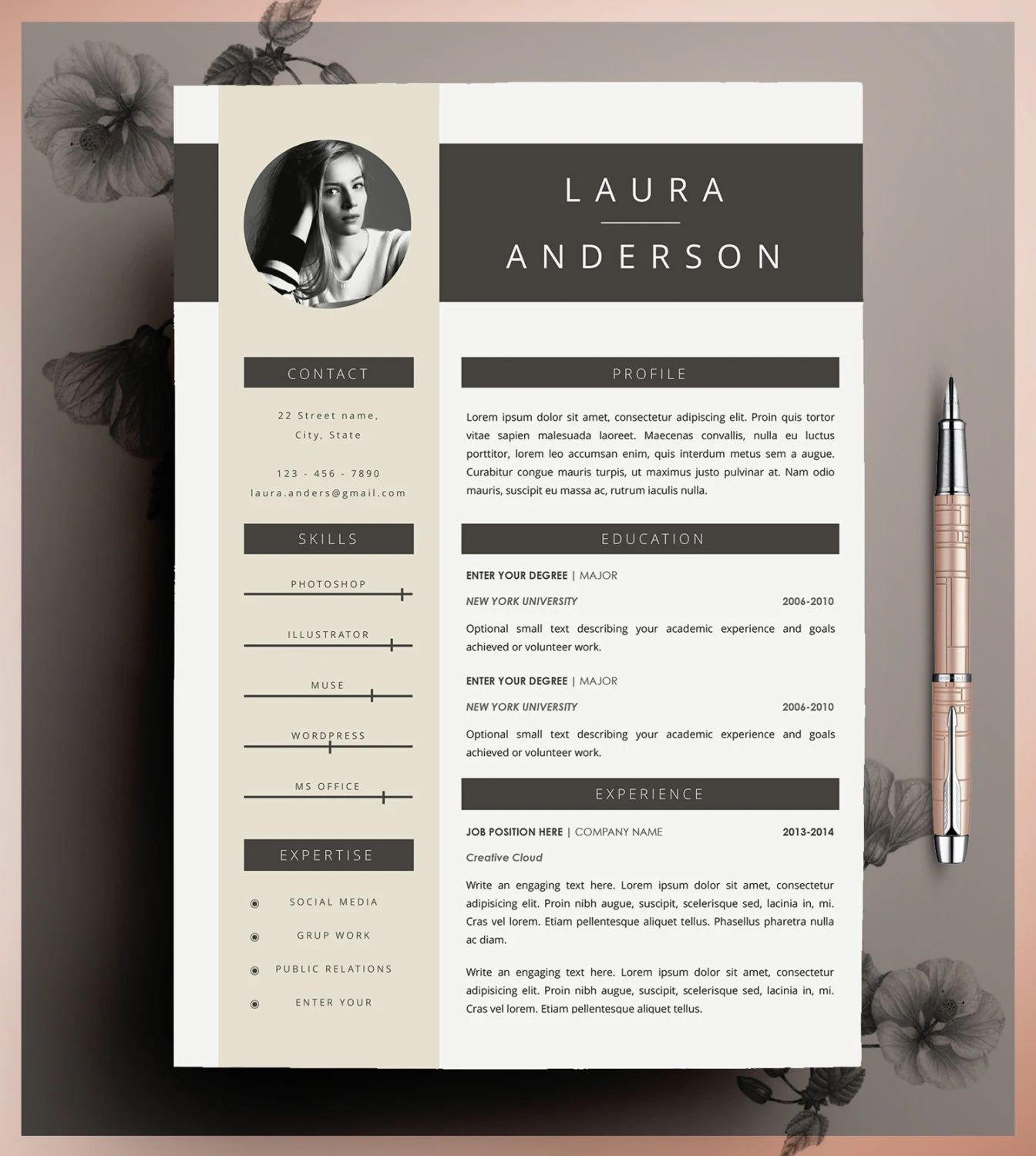 modeles cv format pages