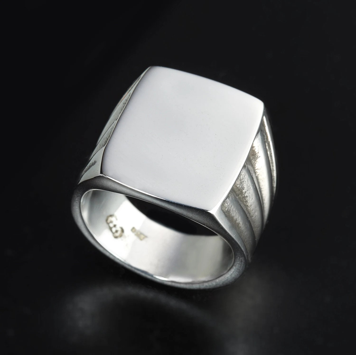 cool mens rings badass wedding rings Sterling Silver Vintage Style rectangle ring Mens Square signet ring Big Signet ring Vintage silver ring Vintage signet ring Classic Ring