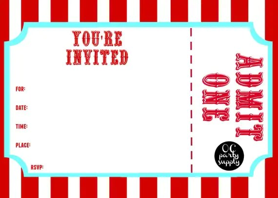 Circus Party Invitation Template alesiinfo - circus party invitation