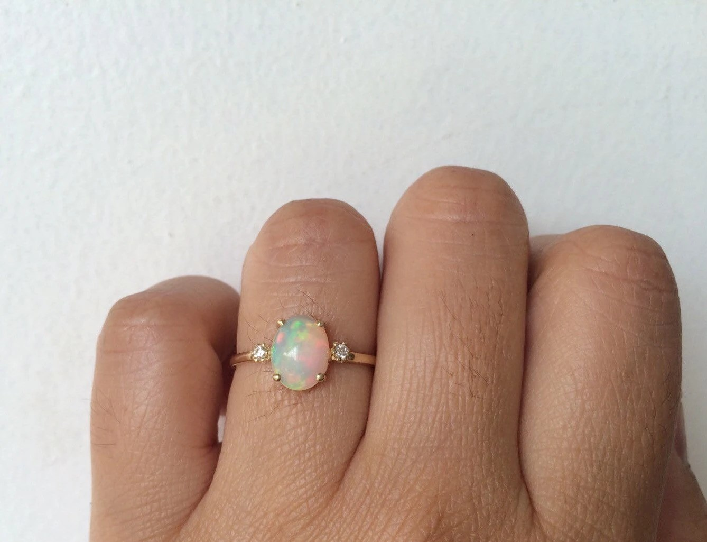 opal ring opal engagement ring 14k opal blue opal wedding rings Opal Diamond Ring Unique zoom