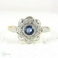 Sapphire & Diamond Daisy Engagement Ring Blue Sapphire in