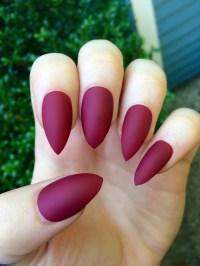 Matte nails maroon nails fake nails stiletto nails by ...