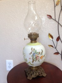 Antique Floral Oil Lamp Kerosene Lamp Vintage Lamp