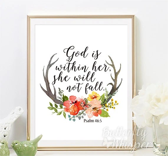 God Is Within Her She Will Not Fall Wallpaper Psalm 46 5 Christian Wall Art Scripture Print Nursery Bible