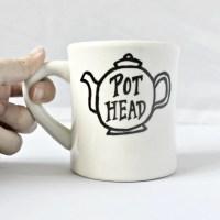 Funny Mug tea mug tea cup diner mug black white hand