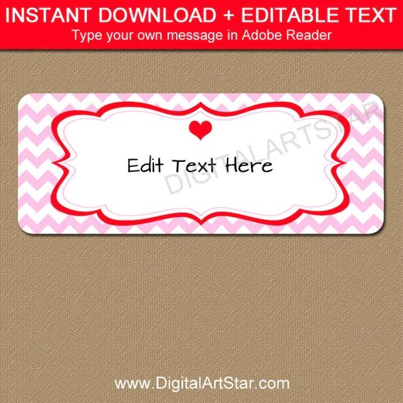 Valentines Day Return Address Labels - Printable Valentine Address - Address Label Template