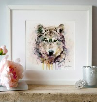 Wolf Head Watercolor painting Wildlife Wall art Wolf poster
