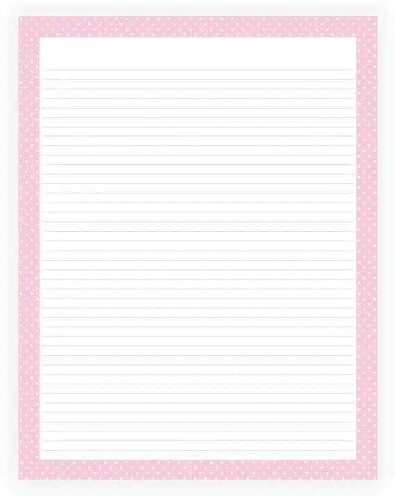 Editable Lined Paper Pink and White Polka Dot Border - lined border paper