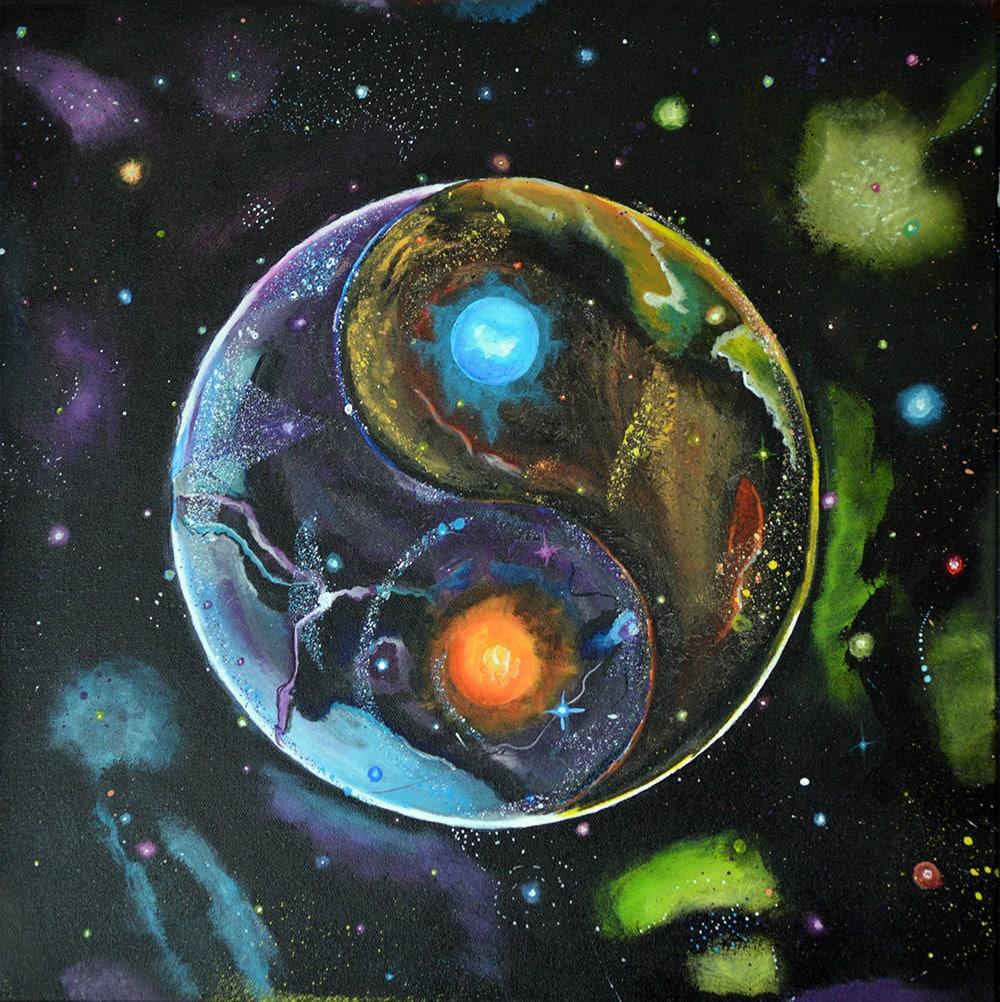 Yin And Yang Wallpaper Hd Cosmic Yin Yang Energies Yin Yang Mandala Yin Yang Space