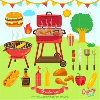 Barbecue Digital Clip Art / BBQ Party Digital Clipart ...