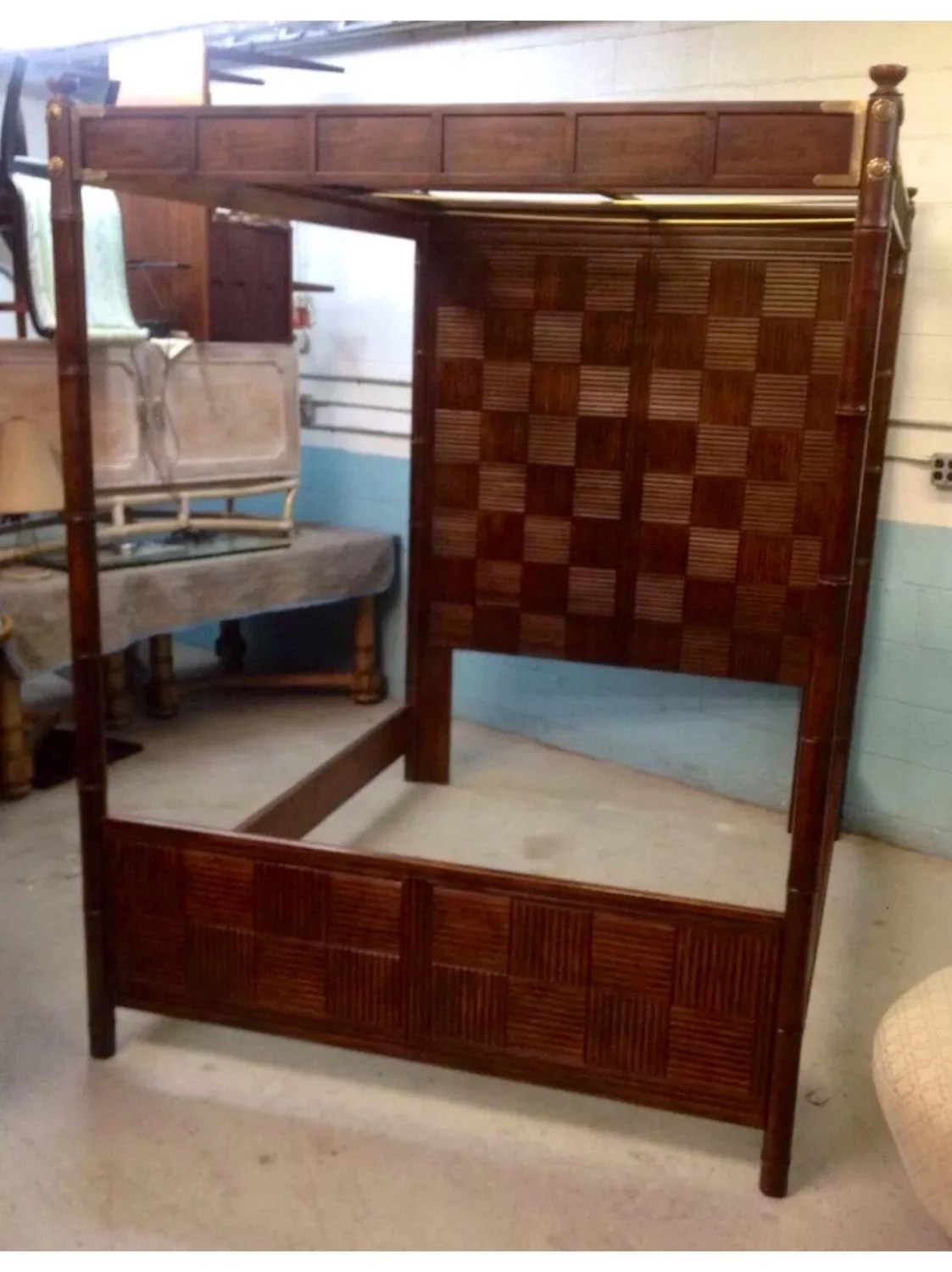 Japanese Canopy Bed Henredon James Mont Style Asian Influenced Faux Bamboo Canopy