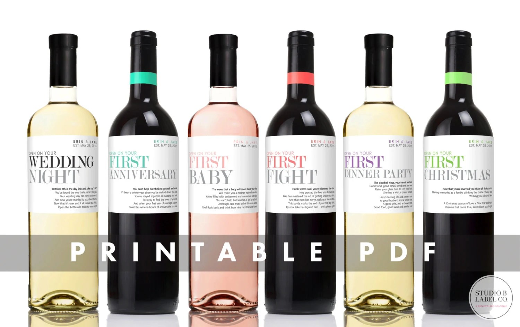 PRINTABLE Wedding Wine Labels Milestone Stickers Unique - free wine bottle label templates