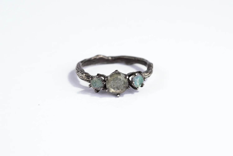 labradorite twig engagement ring labradorite wedding ring Labradorite twig engagement ring Labradorite engagement ring three stone ring