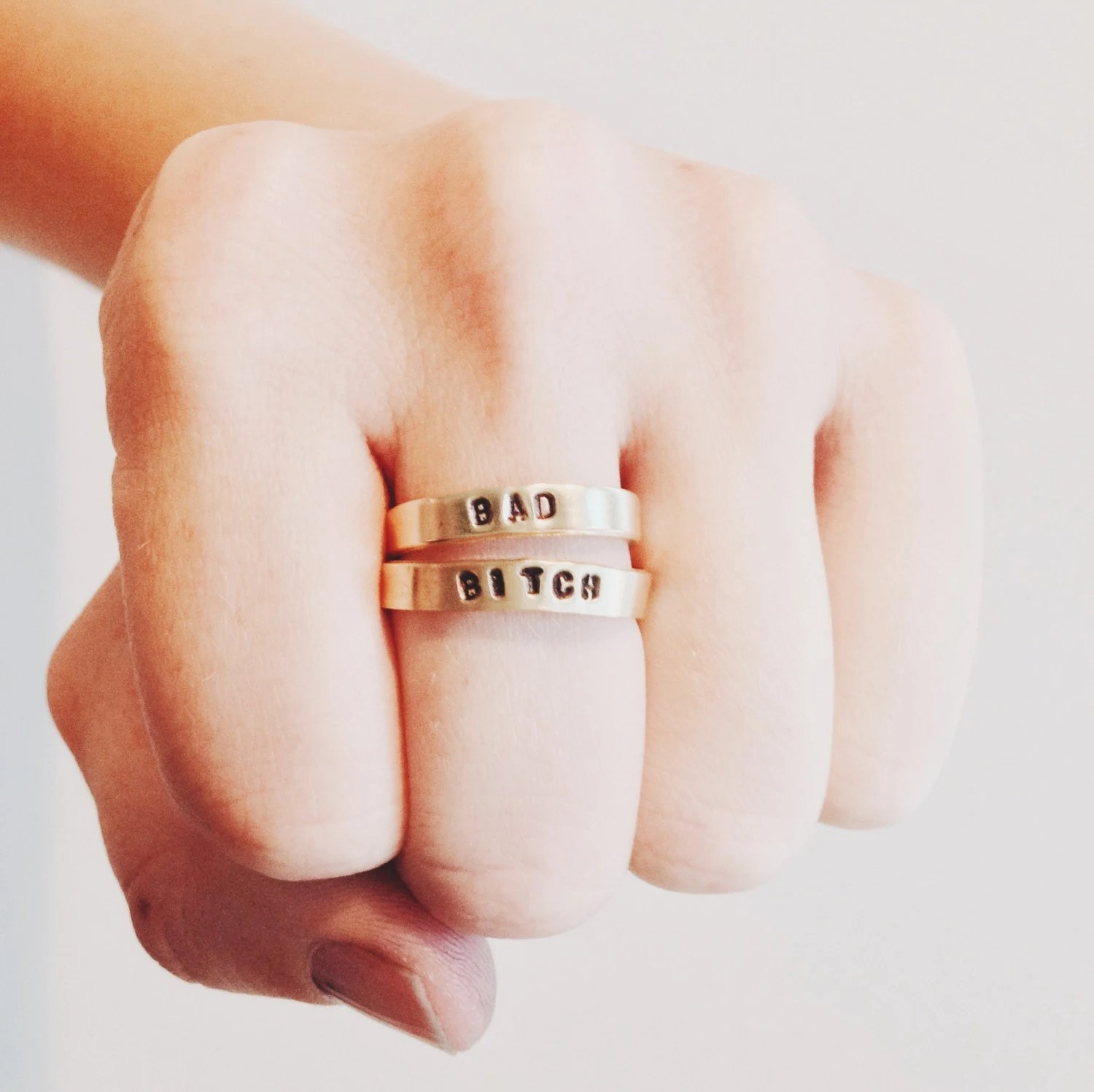 bad bitch stackable rings wedding badass wedding rings Bad Bitch Stackable Rings Initials Mantra BFF Bridesmaid Feminist Badass Nasty Woman Birthday Handstamped Skinny Ring Set