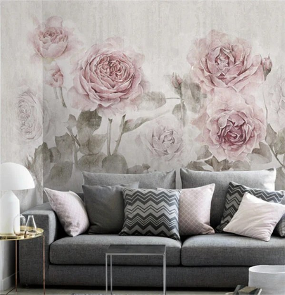 3d Wallpaper For Bedroom Walls Misty Watercolor Rose Wallpaper Vintage Fresh Smokey Flower