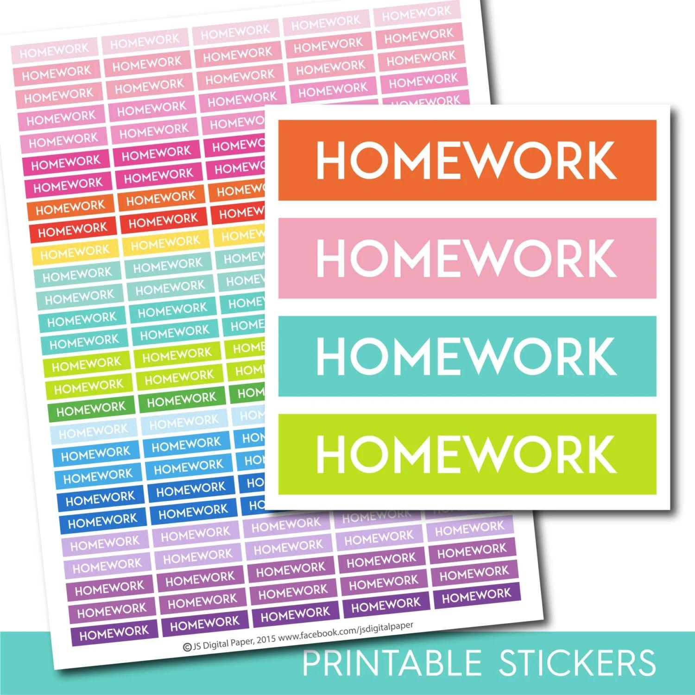 Homework stickers, Homework planner stickers, Homework printable - student homework planner