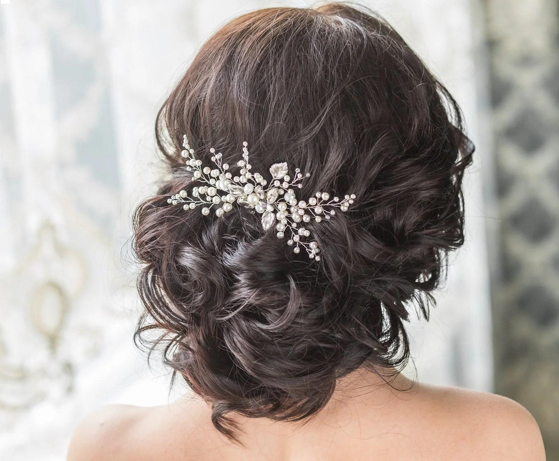 bridal adornment wedding hair pieces Bridal Hair Comb with Swarovski Pearls Bridal Headpiece Bridal Hair Piece Leaf Hair Comb