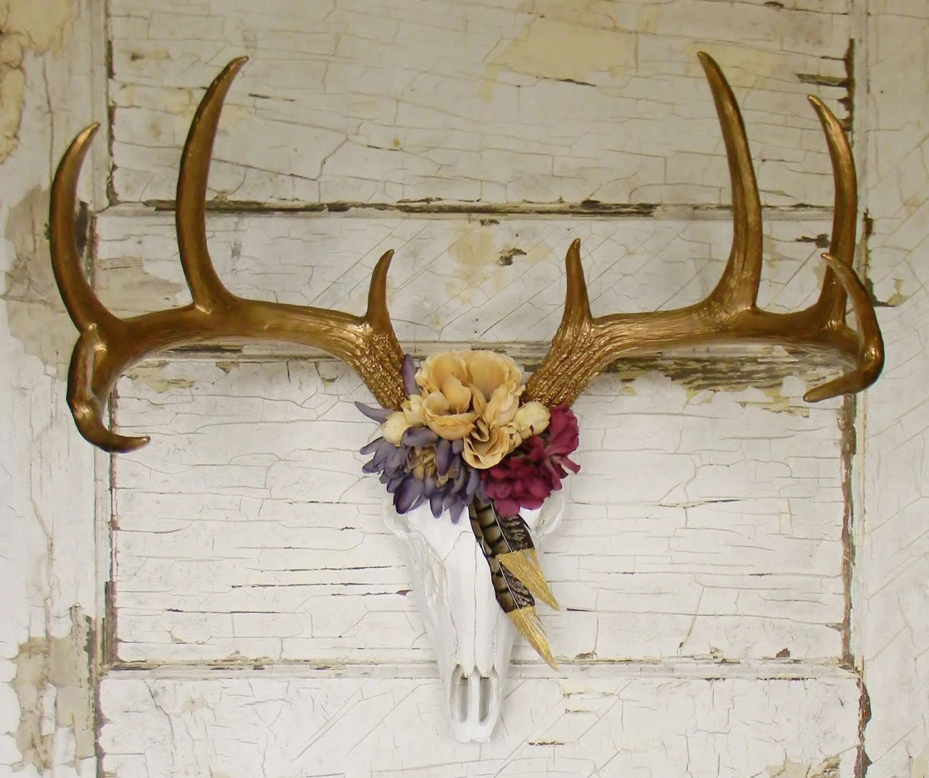 Fake Deer Skull And Antlers Deer Skull With Antlersfaux Deer Skullfaux Deer Headfaux