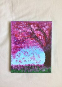 Abstract Art Cherry Blossom Painting Wall Art by UpandDownArt