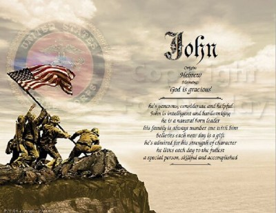 US Marine Corps Personalized Name Meaning Print