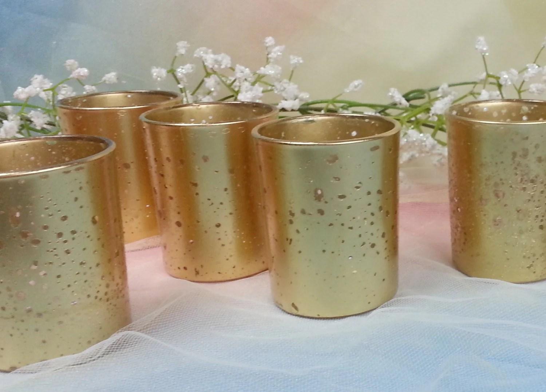 20 Per Metallic Gold Mercury Glass Votive Candle Holder For